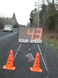 Speed reader board at roadside